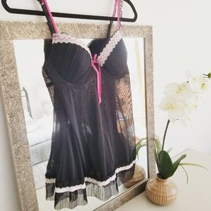 Sheer Black Babydoll Lingerie w/ Hot Pink Trim